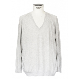 Heather grey silk cashmere and cotton long sleeves v neck jumper Retail price €180 Size L