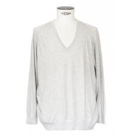 Pull fin col V manches longues en cachemire, soie et coton gris clair Prix boutique 180€ Taille L