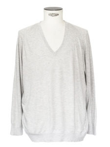 Heather grey silk cashmere and cotton long sleeves v neck jumper Retail price €180 Size M