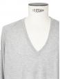 Pull fin col V manches longues en cachemire, soie et coton gris clair Px boutique 180€ Taille M