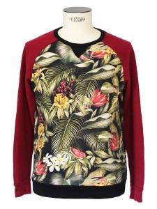 Pull sweat Homme en coton bordeaux imprimé tropical Px boutique 180€ Taille M