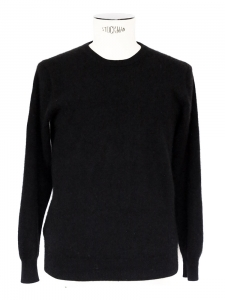 Black fine cashmere round neck long sleeves sweater Retail price €340 Size S/M