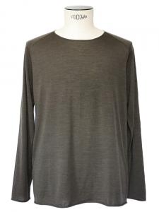 Khaki green wool long sleeves round neck men's jumper Size L