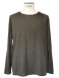 Khaki green wool round neck men's jumper NEW Size L