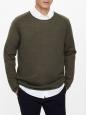 Pull Homme manches longues en laine fine vert kaki Taille L