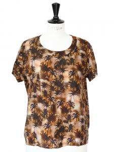 ROSEANNA T-shirt blouse PALM MOON en soie marron imprimé palmiers Px boutique 249€ Taille 36