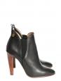 Bottines low boot à talons en cuir noir Px boutique 640€ Taille 36,5