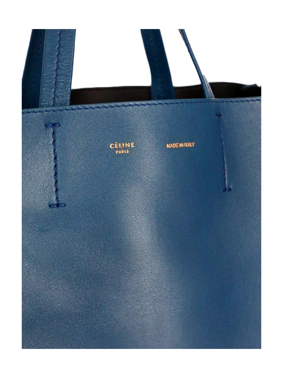 ebd90e979a23 Louise Paris - CELINE Navy blue leather Vertical GUSSET tote bag ...