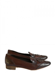 762cc48b45e8 Chocolate brown mesh leather flat tassel loafers Retail price €200 Size 36.5