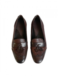 Chocolate brown mesh leather flat tassel loafers Retail price €200 Size 36.5