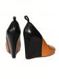 Chaussures compensées bout rond en cuir camel et noir Px boutique 800€ Taille 40