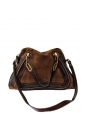 Brown suede and grained leather PARATY medium leather cross body bag Retail price €1450