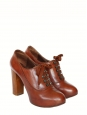 Cognac brown leather and wooden heel SILVERADO lace-up low boots Retail price €550 Size 37,5