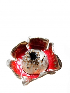 White and red enamel and gold brass flower brooch