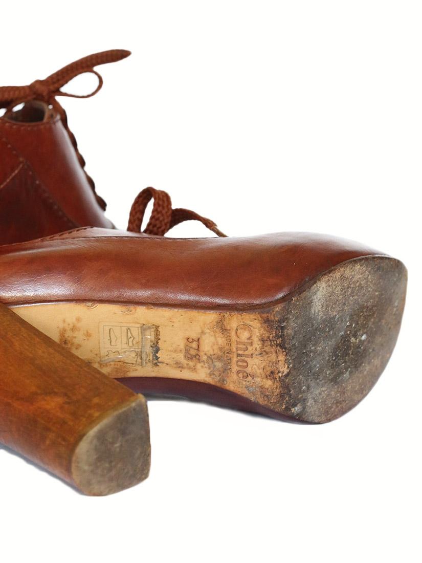 acbfc2e46c08b ... Bottines à lacets SILVERADO en cuir marron cognac et talon bois Px  boutique 550€ Taille