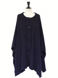 Dark navy knitted merino wool oversized cape coat Retail price €440 Size S