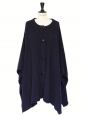 Dark navy knitted merino wool oversized cape coat Retail price €440 Size S