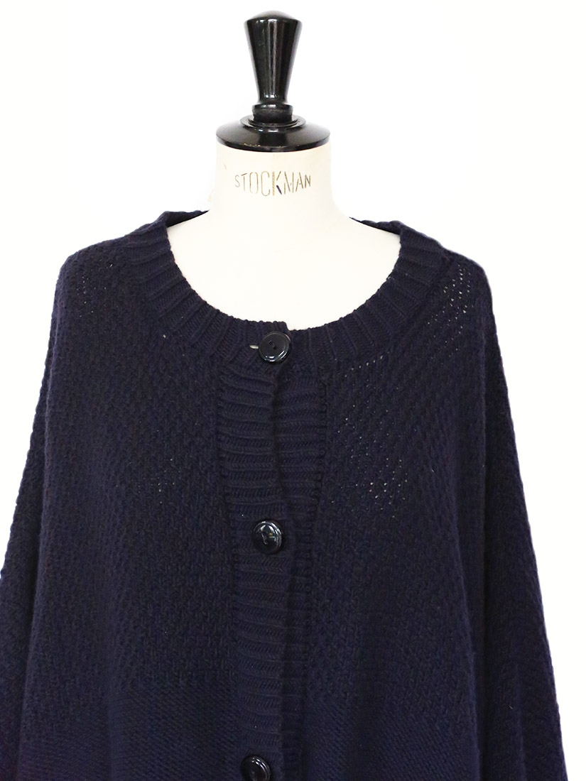 Louise Paris - APC Dark navy knitted merino wool oversized cape coat Retail p...