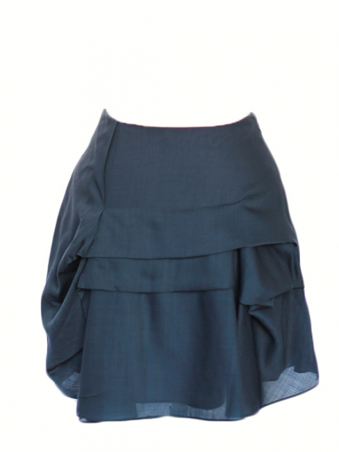 Slate blue low waist ruffled skirt Retail price €800 Size 34