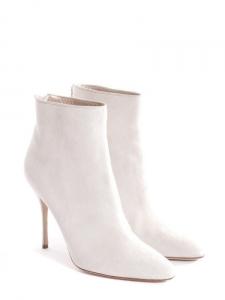 Bottines talon stiletto bout pointu en suède blanc crème NEUVES Px boutique 990€ Taille 40