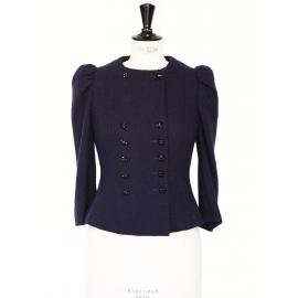 Veste Couture cintrée en laine bleu nuit et boutons bijoux Px boutique 1500€ Taille 34/36