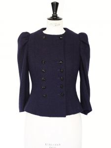 Couture midnight blue wool cinched jacket with double fastenings jewel buttons Retail price €1500 Size 36