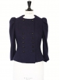 Couture midnight blue wool cinched jacket with double fastenings jewel buttons Retail price €1500 Size 34/36