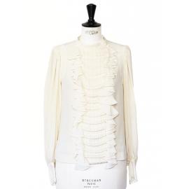 Blouse col rond en soie plissée et volants blanc crème Px boutique 1500€ Taille 36
