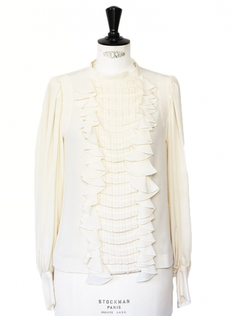 Cream white pleated and ruffled silk blouse Retail price €1500 Size 36