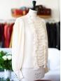 CHLOE Blouse col rond en soie plissée et volants blanc crème Px boutique 1500€ Taille 36