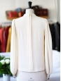 CHLOE Cream white pleated and ruffled silk blouse Retail price €1500 Size 36