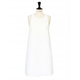 Robe trapèze sans manche col rond blanc ivoire Prix boutique 750€ Taille 36