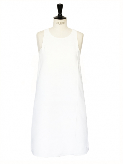 Ivory white sleeveless swing dress Retail price €750 Size 36