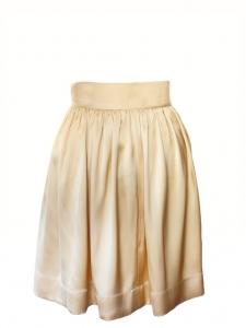 Jupe fluide taille haute en satin de soie plissé beige vanille NEUVE Px boutique 850€ Taille 34/36
