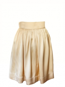 Vanilla beige satin silk pleated high waist fluid skirt NEW Retail price €850 Size 34/36