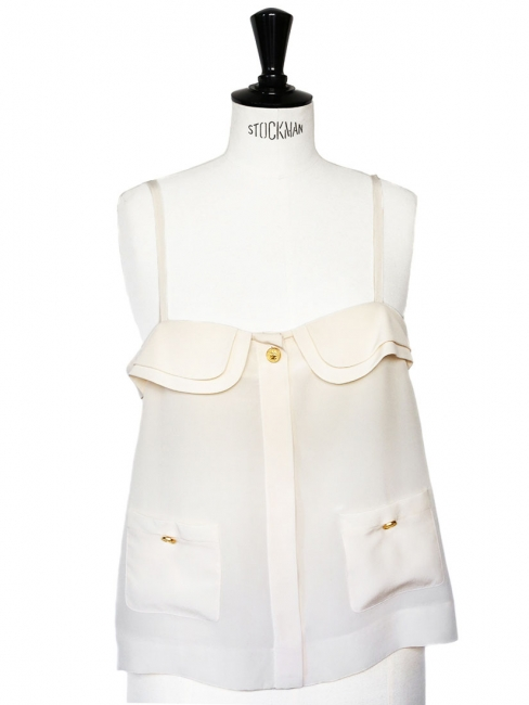 Ecru beige silk crepe tank top with gold buttons Retail price €800 Size 38/40