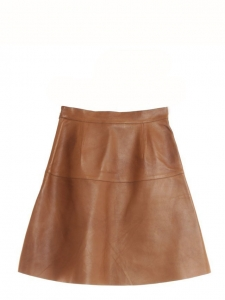 High waist nut brown leather flare skirt Retail price $2500 Size 34