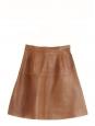 Jupe évasée taille haute en cuir marron cognac Px boutique 2250€ Taille 34
