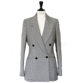 Black and white houndstooth wool double-breasted cinched blazer jacket Retail price €1200 Size 36