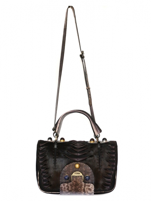 SECRET CODE Brown calfhair leather and karung cutout bag with semi-precious stones NEW Retail price €3470