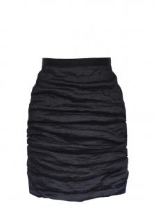 Black ramie high waisted draped skirt Retail price €850 Size 42