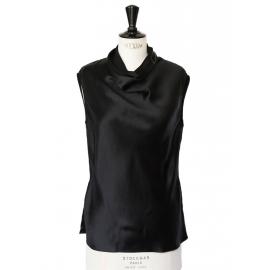 Black silk satin sleeveless top Retail price €700 Size XS