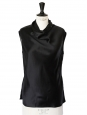 Black silk satin sleeveless top Retail price €700 Size XS