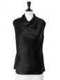 Top sans manche en satin de soie noir Px boutique 700€ Taille 34