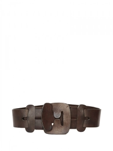 Chocolate brown leather large belt Retail price €280 Size S