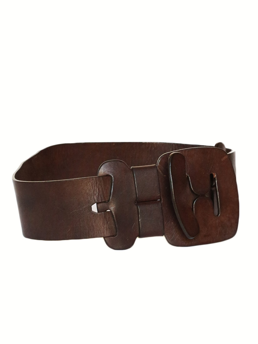 louise chocolate brown leather large belt