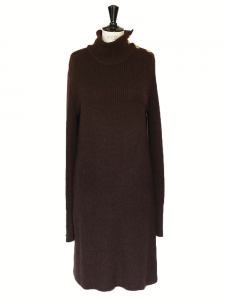 Chocolate brown alpaca and wool long sleeves dress Retail price €1300 Size S