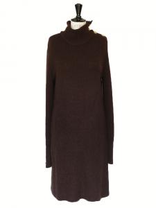 Robe oversize manches longues en laine et alpaga brun chocolat Px boutique 1300€ Taille S