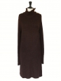 Chocolate brown alpaca and wool long sleeves thick knit sweater dress Retail price €1300 Size S to L