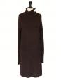 Robe pull en alpaga et laine brun chocolat coupe oversize manches longues Px boutique 1300€ Taille S à L